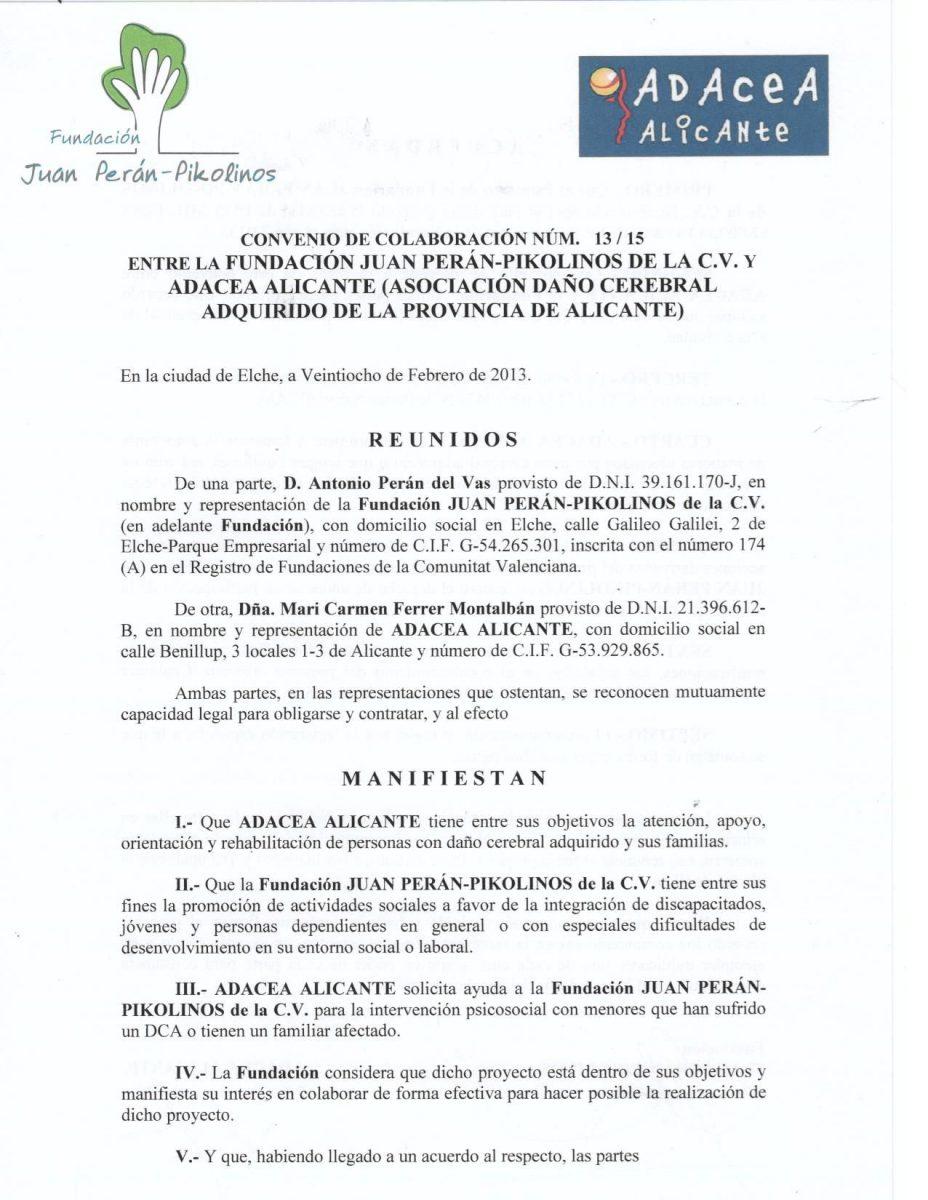CONVENIO JUAN PERAN-PIKOLINOS 28/3/2013