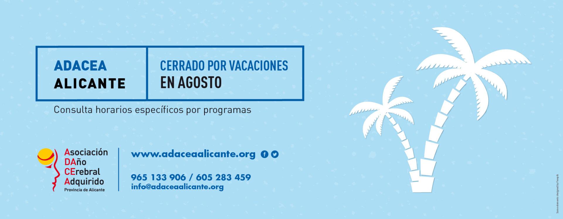 ADACEA Alicante cierra por vacaciones